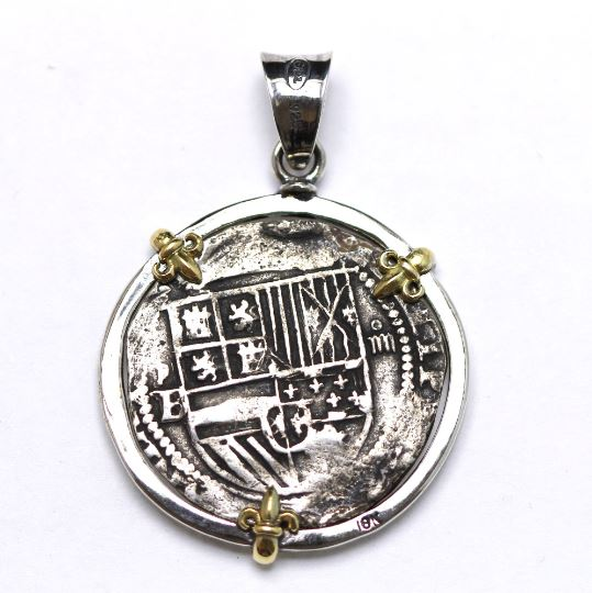 18K Gold Prongs, Silver Pendant, Felipe II, Spanish Coin, ID13348 - Erez Ancient Coin Jewelry