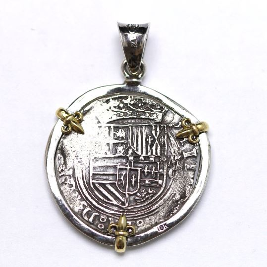 18K Gold Prongs, Silver Pendant, Silver Chain, Felipe II, Spanish Coin, ID13347 - Erez Ancient Coin Jewelry