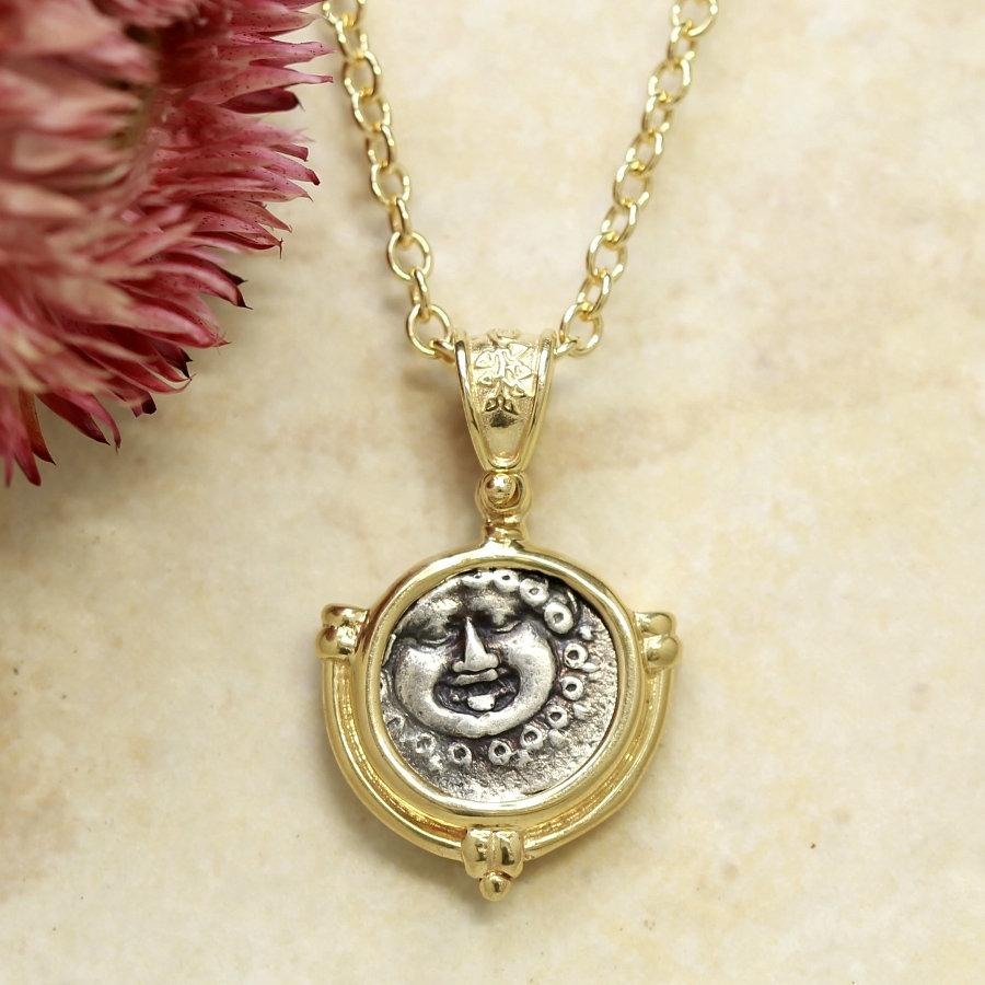 14k Gold Pendant, Gorgon Greek Coin, Certificate 6309 - Erez Ancient Coin Jewelry, ancient coin jewelry, men jewelry, genuine ancient coins, made in the US