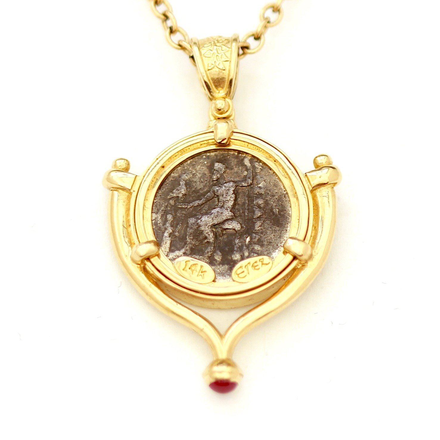 14K Gold Necklace, Alexander The Great, Certificate ID12109 - Erez Ancient Coin Jewelry, ancient coin jewelry, men jewelry, genuine ancient coins, made in the US