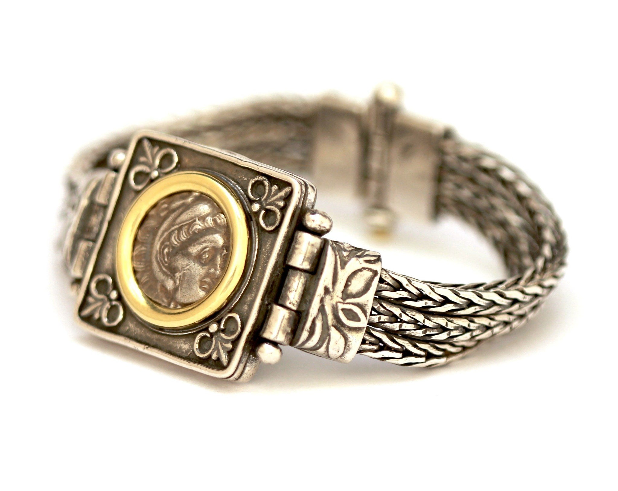 Alexander the Great Bracelet, 14K Gold and Sterling Silver, Genuine Ancient Coin, with Certificate  ID13082 - Erez Ancient Coin Jewelry, ancient coin jewelry, men jewelry, genuine ancient coins, made in the US