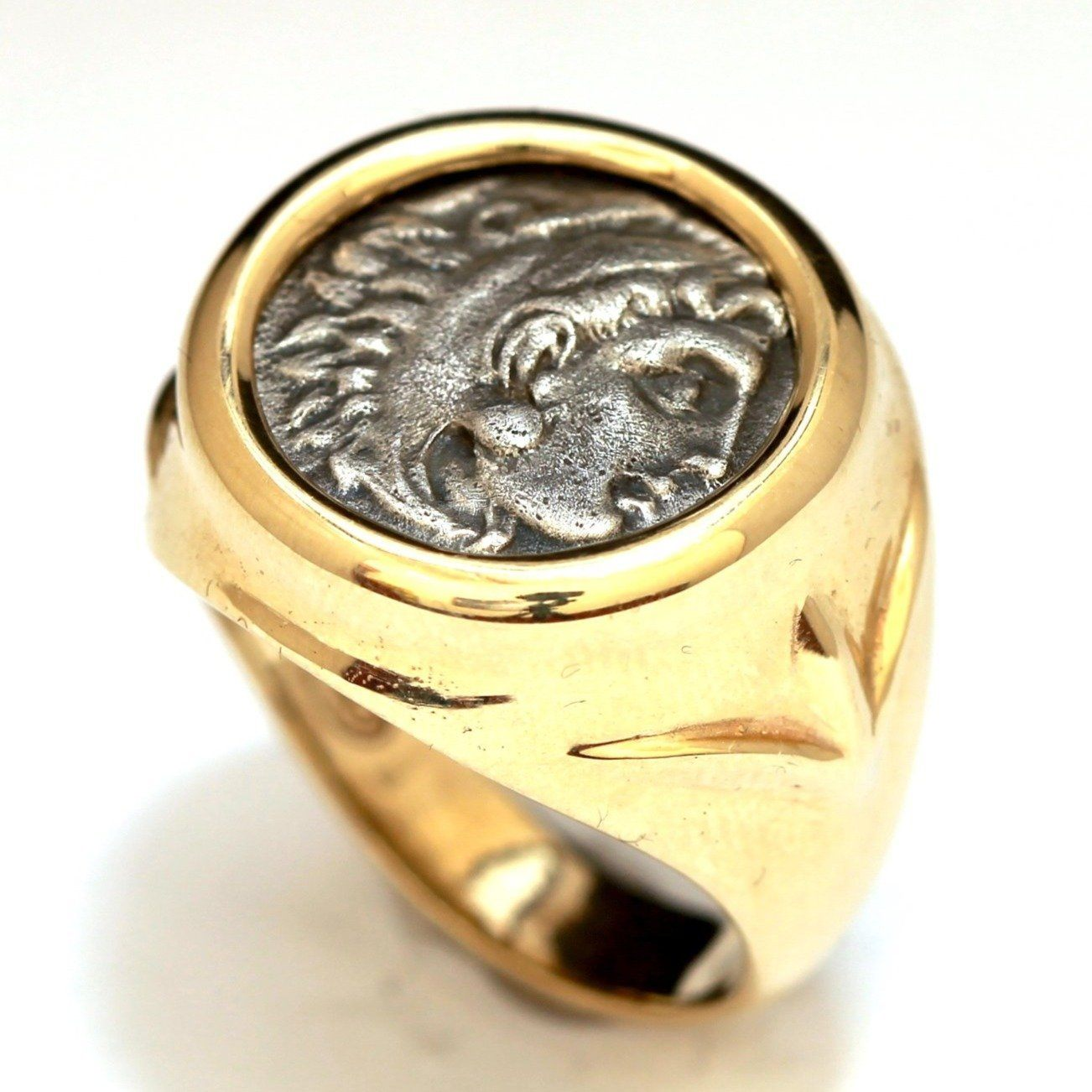 Alexander the Great Coin, Gold Ring, Genuine Ancient Coin w/ Certificate ID13080 - Erez Ancient Coin Jewelry, ancient coin jewelry, men jewelry, genuine ancient coins, made in the US