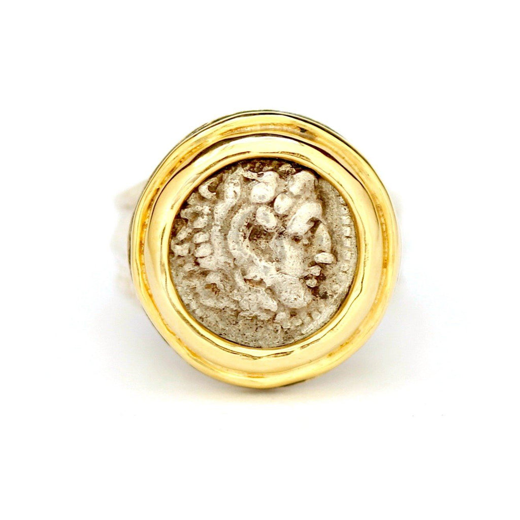 Alexander the Great Ring, 14K Gold and Silver, Genuine Greek Ancient Coin, with Certificate ID12968 - Erez Ancient Coin Jewelry, ancient coin jewelry, men jewelry, genuine ancient coins, made in the US