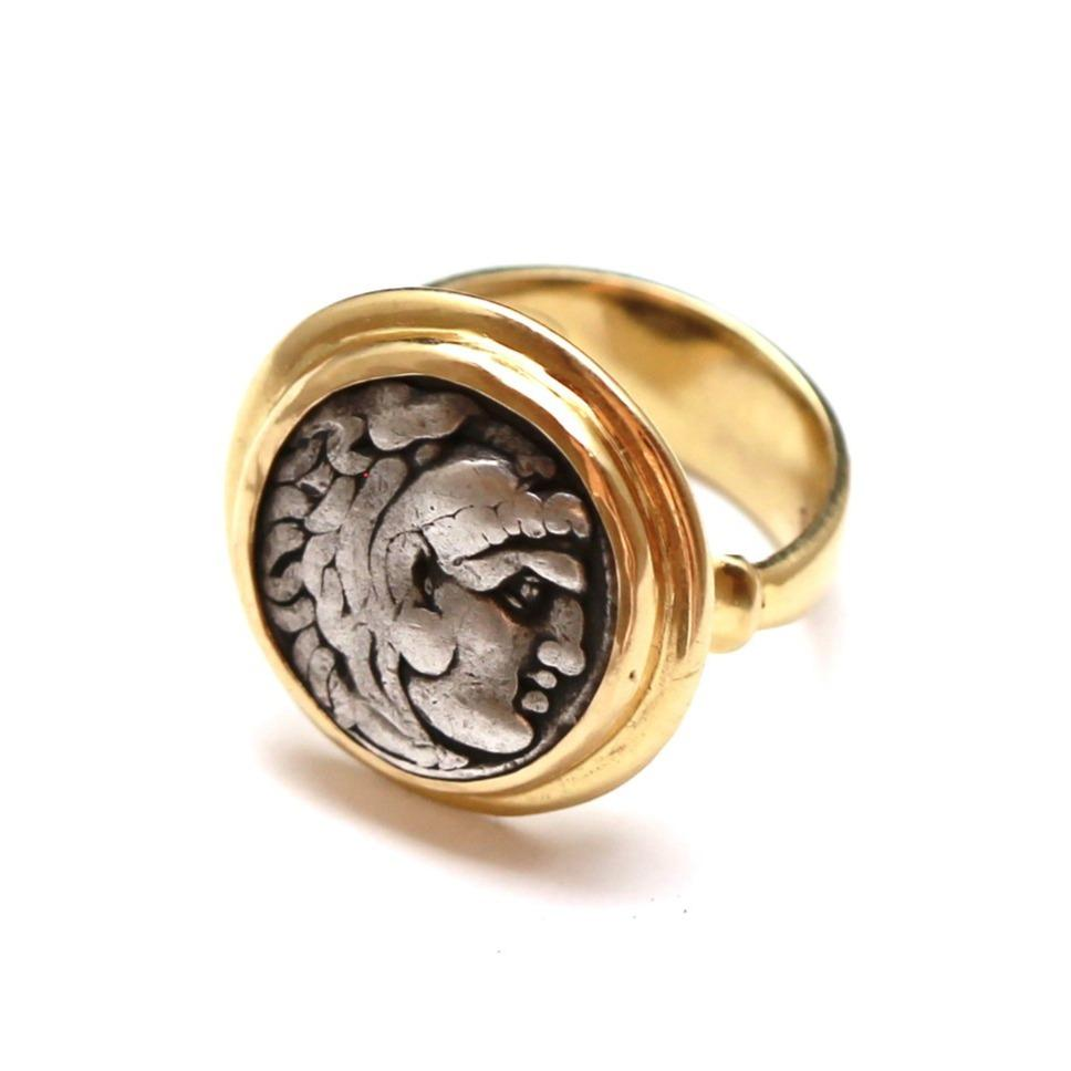 Alexander The Great Ring, 14K Gold, Genuine Ancient Greek Coin, with Certificate ID12811