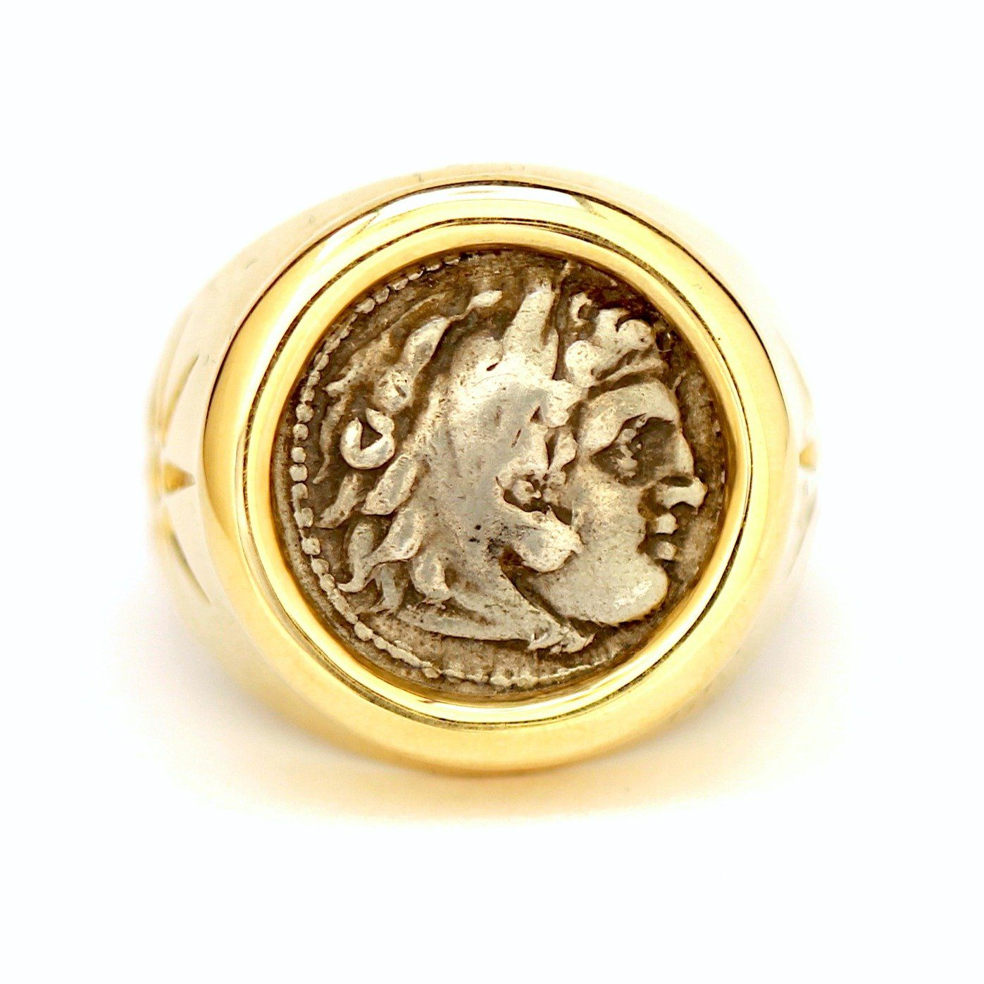 Alexander the Great Ring, 14K Gold, Genuine Greek Ancient Coin, with Certificate ID13008