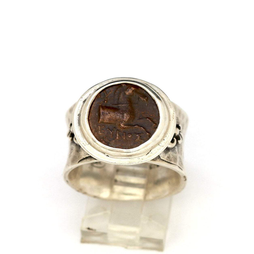 Ancient Greek Coin, Kyme Horse Ring, Silver embellished ring, Genuine Ancient Coin with Certificate  0738 - Erez Ancient Coin Jewelry