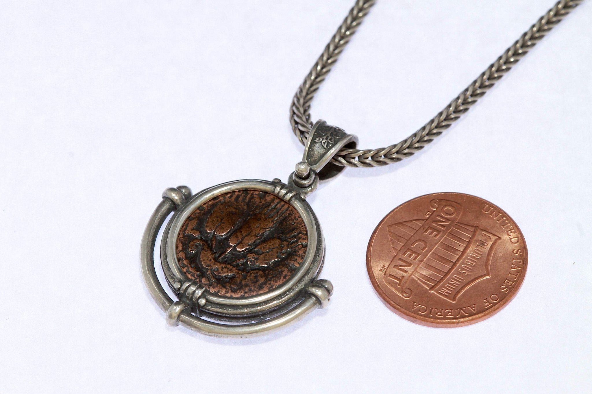 Sterling Silver Necklace, Ancient Judea,  Certificate 6587 - Erez Ancient Coin Jewelry, ancient coin jewelry, men jewelry, genuine ancient coins, made in the US