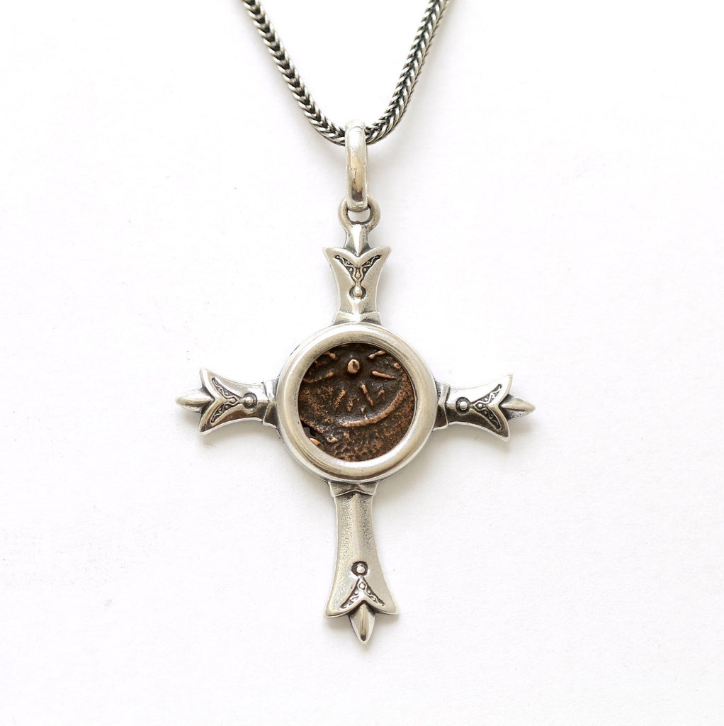 Sterling Silver Cross Pendant, Ancient Judea, Widows Mite,  certificate 8033 - Erez Ancient Coin Jewelry, ancient coin jewelry, men jewelry, genuine ancient coins, made in the US