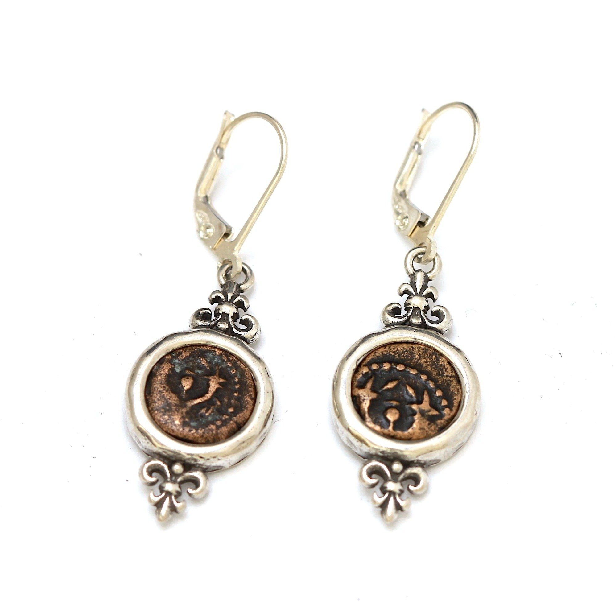 Ancient Judaea Coins, Sterling Silver Earrings, Genuine Ancient Coins, with Certificate 6490 - Erez Ancient Coin Jewelry, ancient coin jewelry, men jewelry, genuine ancient coins, made in the US