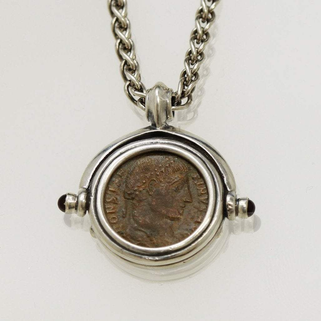 Sterling Silver Necklace, Ancient Roman Bronze Coin,  Genuine Ancient Coin, with Certificate -2015 - Erez Ancient Coin Jewelry, ancient coin jewelry, men jewelry, genuine ancient coins, made in the US