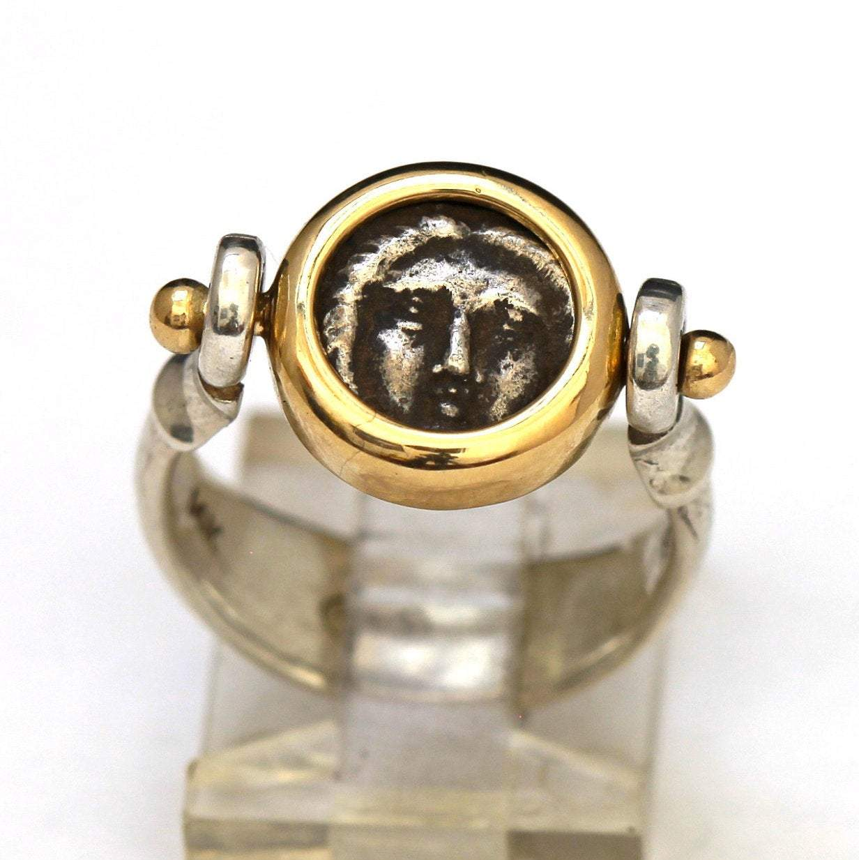 Apollo Flip Ring, Genuine Greek Silver Coin, 14K Gold, Sterling Silver Shank, w/Cert 6276 - Erez Ancient Coin Jewelry