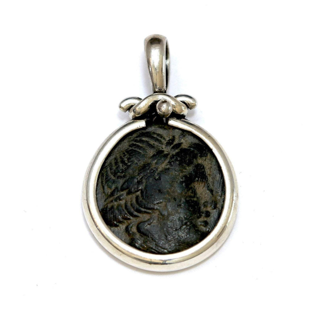 Silver Pendant, Apollo Greek Coin, Certificate 6434 - Erez Ancient Coin Jewelry, ancient coin jewelry, men jewelry, genuine ancient coins, made in the US