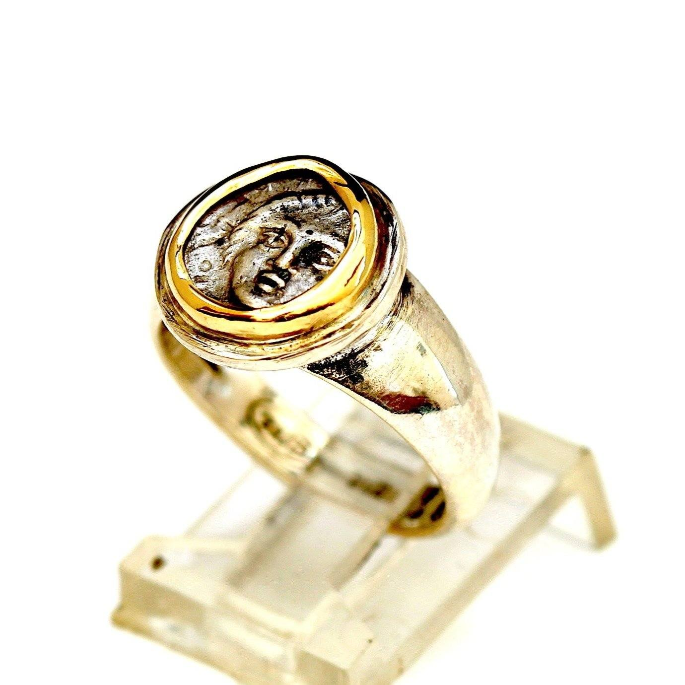 Apollonia Greek Coin, Sterling Silver Ring, 18K Gold Bezel, Genuine Ancient Coin, with Certificate 8082 - Erez Ancient Coin Jewelry