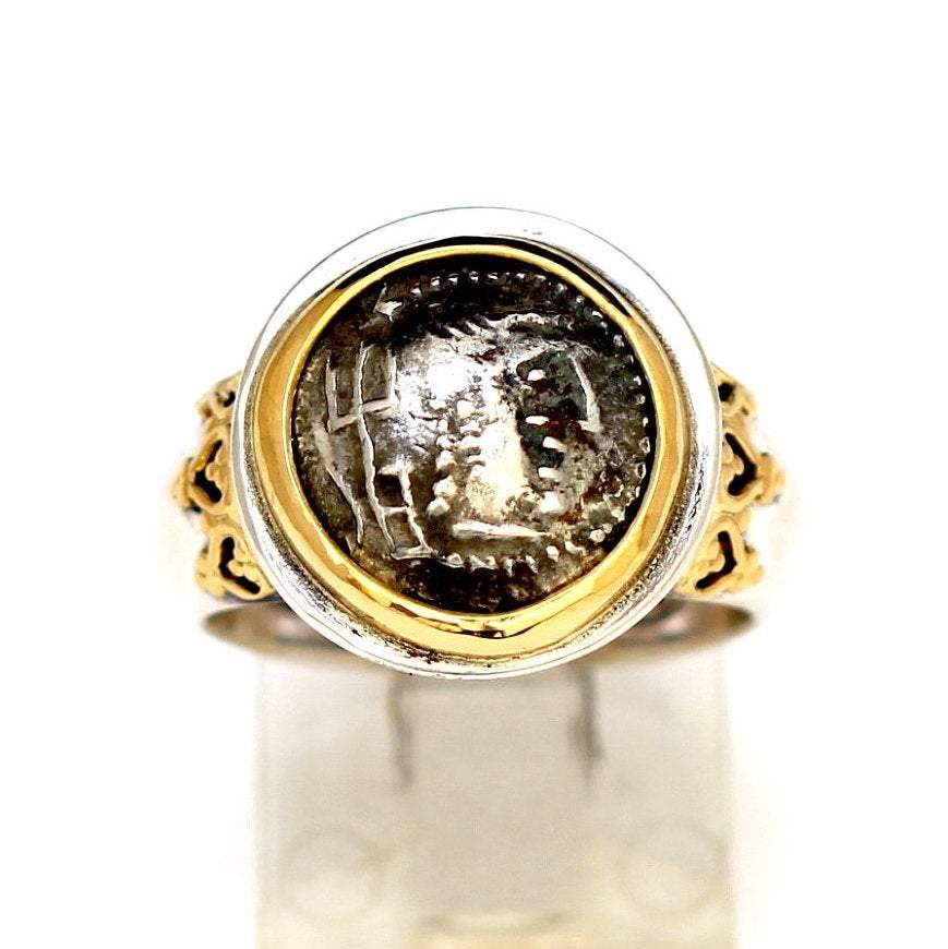 Arabian Felix Silver Coin Ring, 18K Gold accents, Genuine Ancient Coin, with Certificate 6277 - Erez Ancient Coin Jewelry, ancient coin jewelry, men jewelry, genuine ancient coins, made in the US