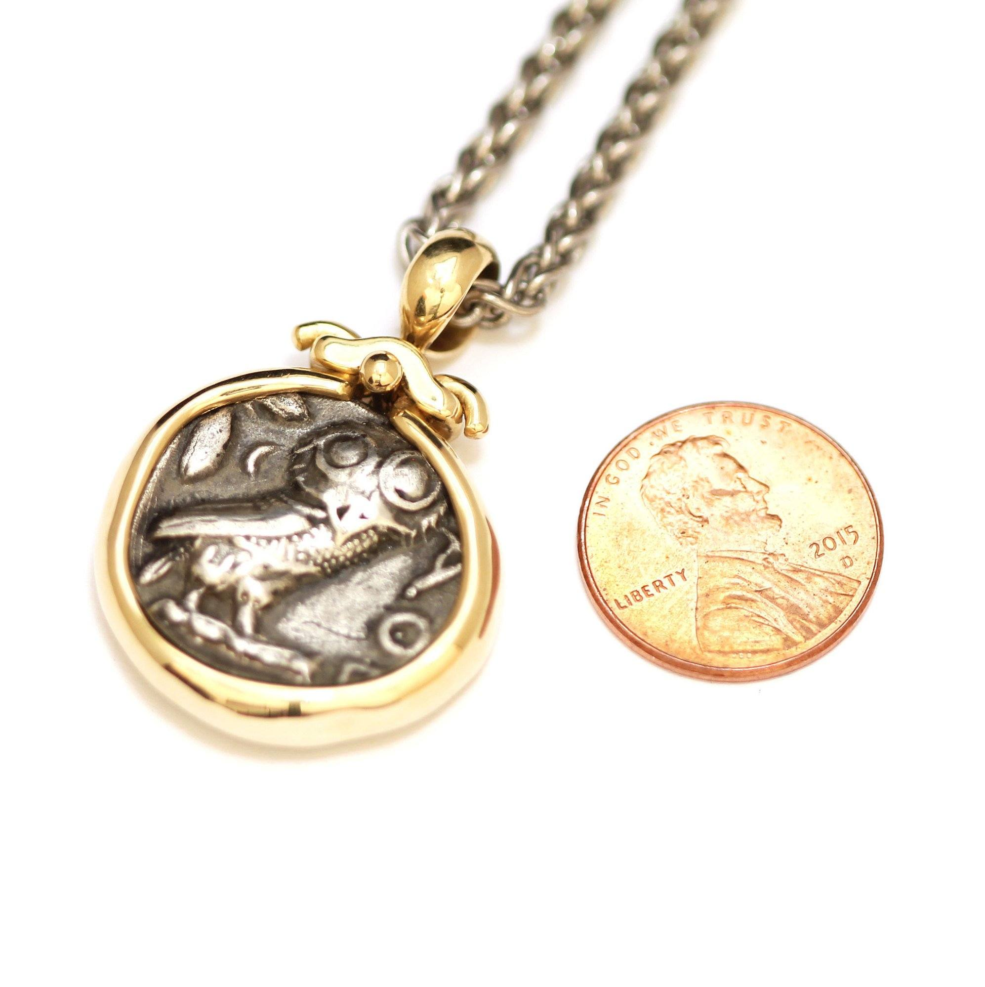 Athena Owl,  Attica 14k Solid Gold Pendant, Coin Pendant, ID12697 - Erez Ancient Coin Jewelry