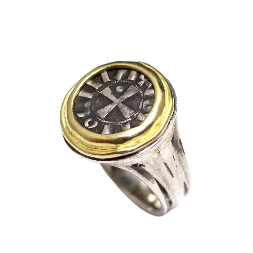 Bohemond III, Byzantine Coin Ring, 14K Gold and Sterling Silver, Gen Ancient Coin, with Cert. ID13039 - Erez Ancient Coin Jewelry