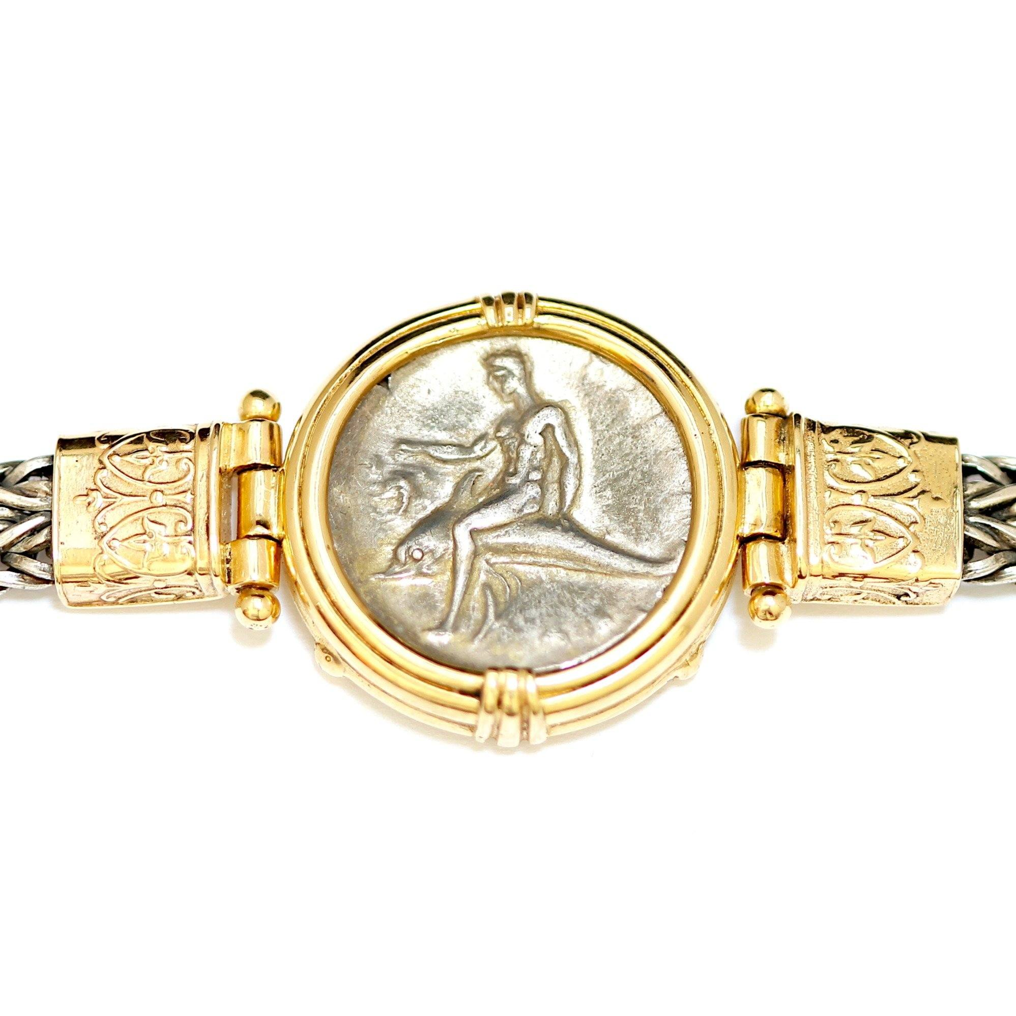 Boy on a Dolphin, Greek Coin Bracelet, 14K Gold and Sterling, Genuine Ancient Coin, with Certificate ID12744 - Erez Ancient Coin Jewelry