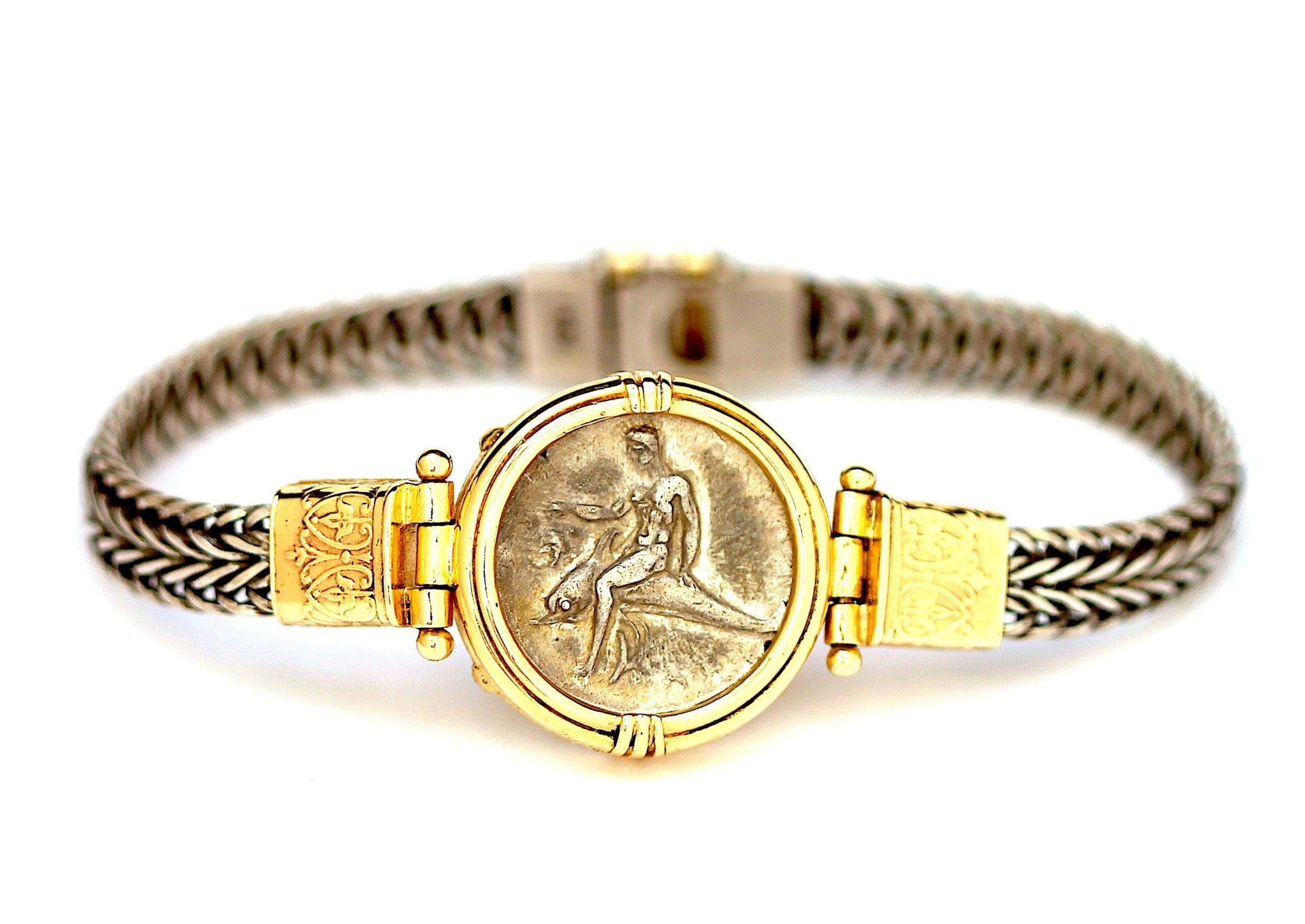 Sterling silver coin bracelet ancient Byzantine coin Jewelry with coins