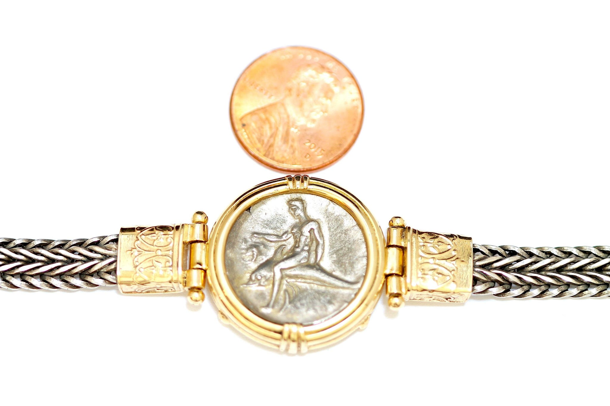 Boy on a Dolphin, Greek Coin Bracelet, 14K Gold and Sterling, Genuine Ancient Coin, with Certificate ID12744 - Erez Ancient Coin Jewelry, ancient coin jewelry, men jewelry, genuine ancient coins, made in the US