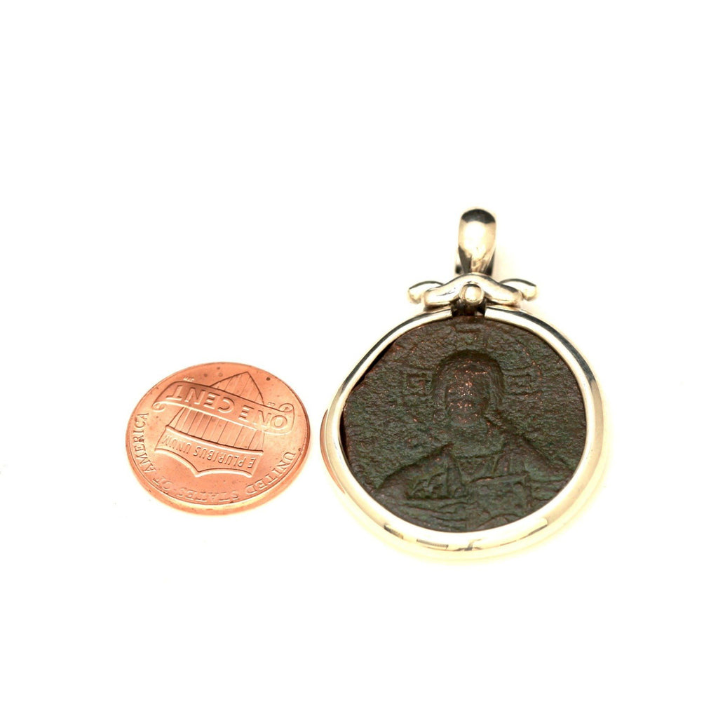 Silver Pendant, Byzantine Anonymous Foles, Jesus Image, Genuine Ancient Coin with Certificate  6420 - Erez Ancient Coin Jewelry