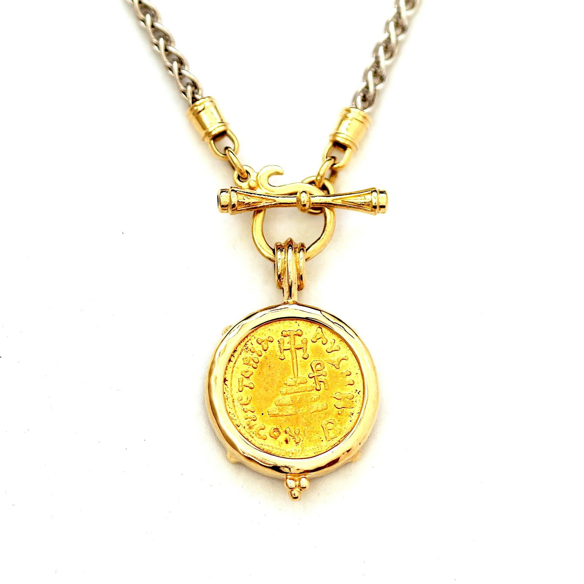 14K Gold Pendant, Byzantine Gold Coin, Certificate ID13121 - Erez Ancient Coin Jewelry, ancient coin jewelry, men jewelry, genuine ancient coins, made in the US