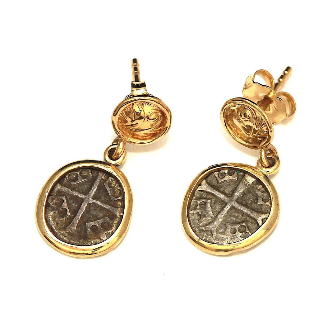 Byzantine Coins, 14K Gold Earrings, Genuine Ancient Coins, with Certificate 6568 - Erez Ancient Coin Jewelry, ancient coin jewelry, men jewelry, genuine ancient coins, made in the US