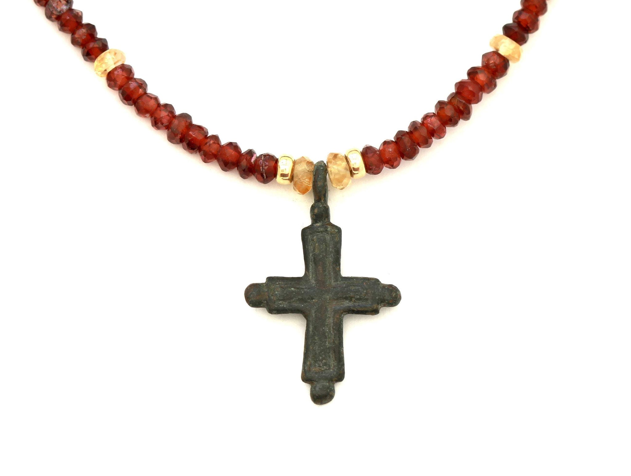 Artifact Garnet Necklace, Byzantine Empire Relic Cross, Certificate 8046 - Erez Ancient Coin Jewelry