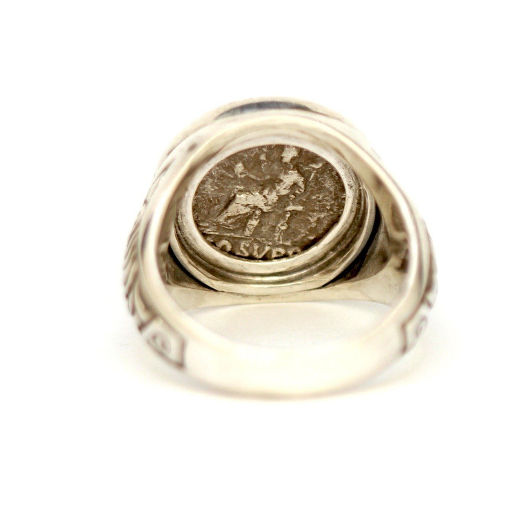 Commodus, Roman Coin Ring, Genuine Ancient Coin, Sterling Silver, with Certificate - Erez Ancient Coin Jewelry, ancient coin jewelry, men jewelry, genuine ancient coins, made in the US