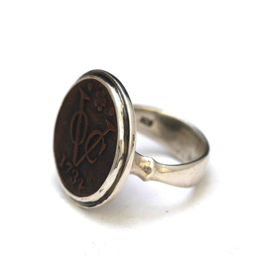 First New York Penny, Dutch Coin, Female Silver Ring, Dutch VOC, Genuine Ancient Coin, with Certificate  8061 - Erez Ancient Coin Jewelry, ancient coin jewelry, men jewelry, genuine ancient coins, made in the US