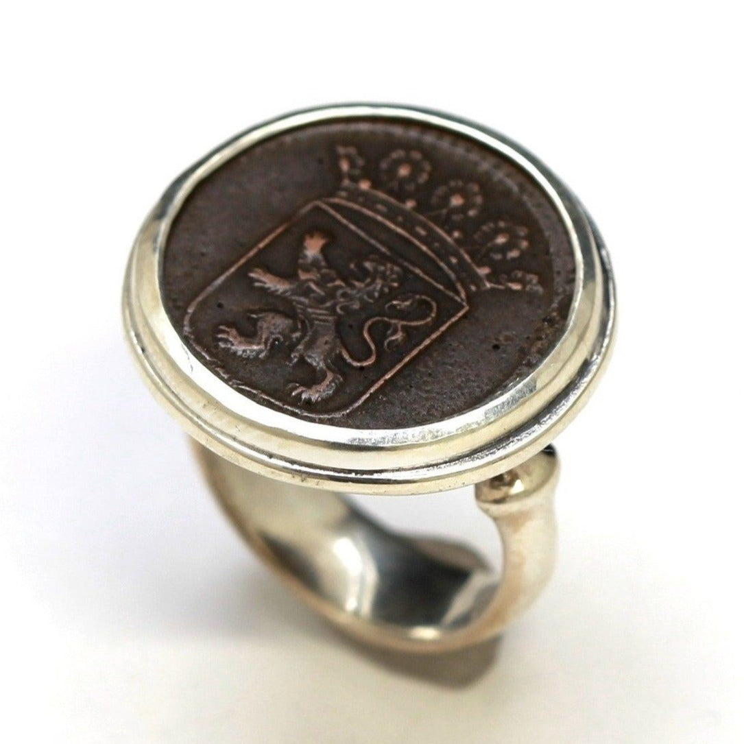 First New York Penny, Dutch Crest, Silver Ring, Genuine Dutch VOC from 1800s, with Certificate 2123 - Erez Ancient Coin Jewelry, ancient coin jewelry, men jewelry, genuine ancient coins, made in the US