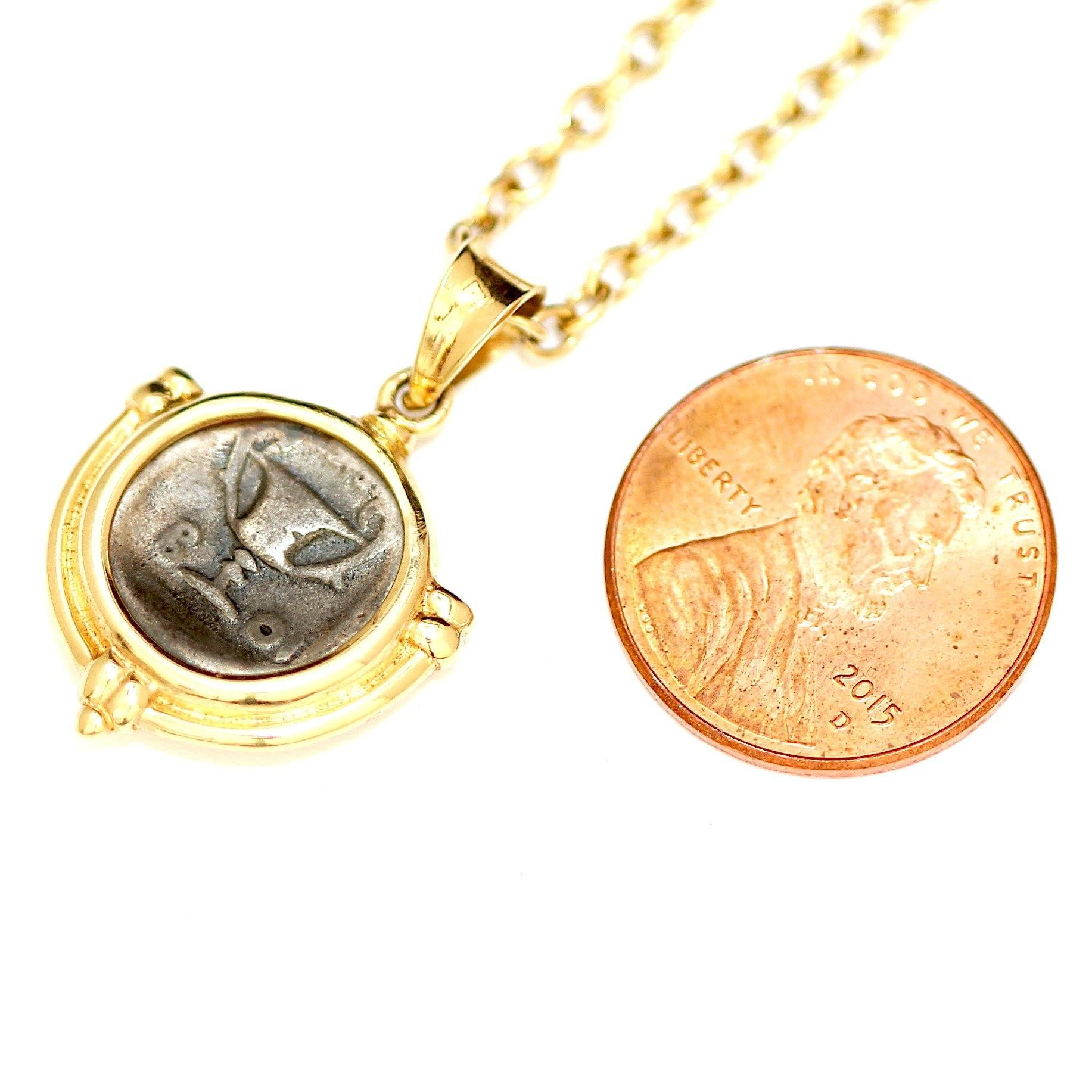 14K Gold Necklace, Greek Coin,  Certificate ID 11567 - Erez Ancient Coin Jewelry