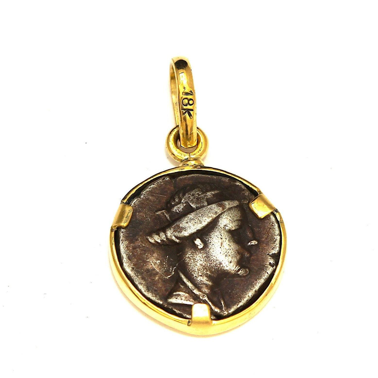 18K Gold Pendant, Genuine, Greek Coin, Certificate 6552 - Erez Ancient Coin Jewelry
