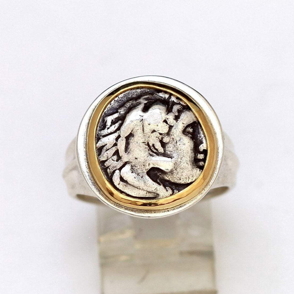 Greek Coin, Alexander the Great, 14K Gold Ring, Silver Shank, Authentic Ancient Coin w/Cert. 6275 - Erez Ancient Coin Jewelry
