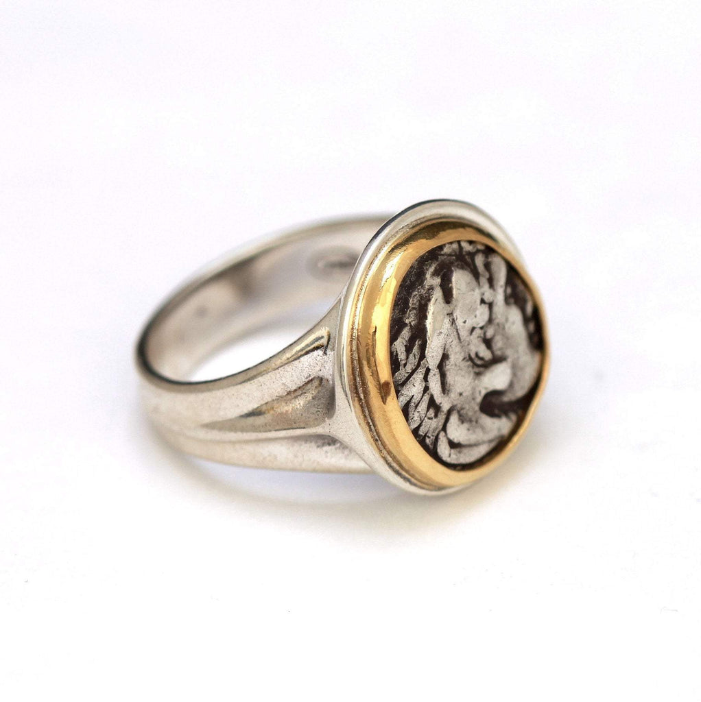 Greek Coin, Alexander the Great, 14K Gold Ring, Silver Shank, Authentic Ancient Coin w/Cert. 6275 - Erez Ancient Coin Jewelry, ancient coin jewelry, men jewelry, genuine ancient coins, made in the US