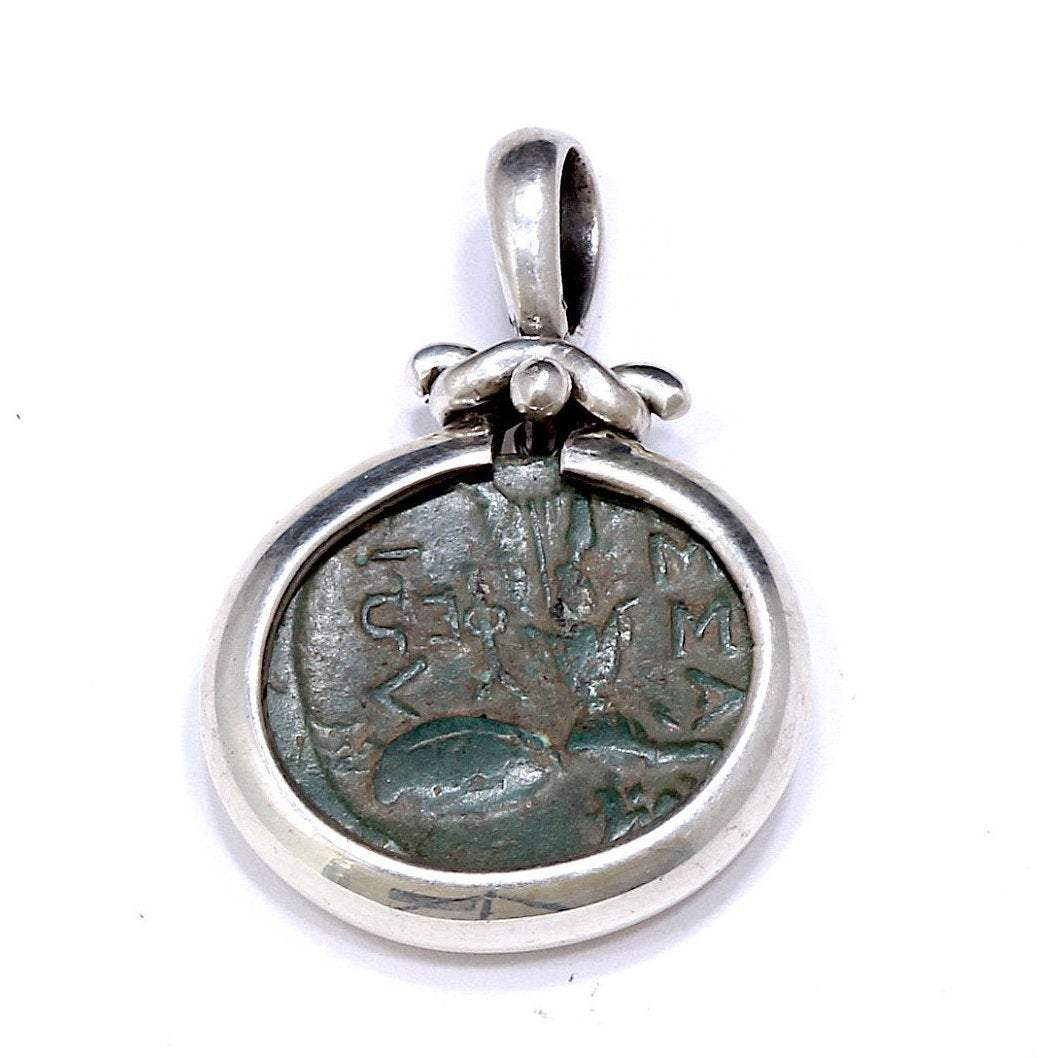 Silver Pendant, Greek Coin, Apollo/Athena, Certificate 6577 - Erez Ancient Coin Jewelry, ancient coin jewelry, men jewelry, genuine ancient coins, made in the US