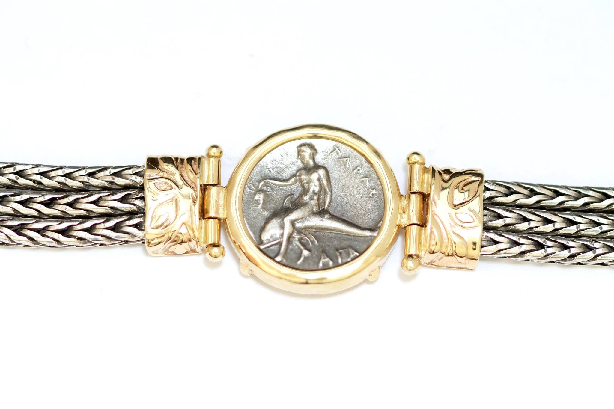 14K Gold Bracelet, Gold Setting, Silver Bracelet,, with Certificate ID13101 - Erez Ancient Coin Jewelry