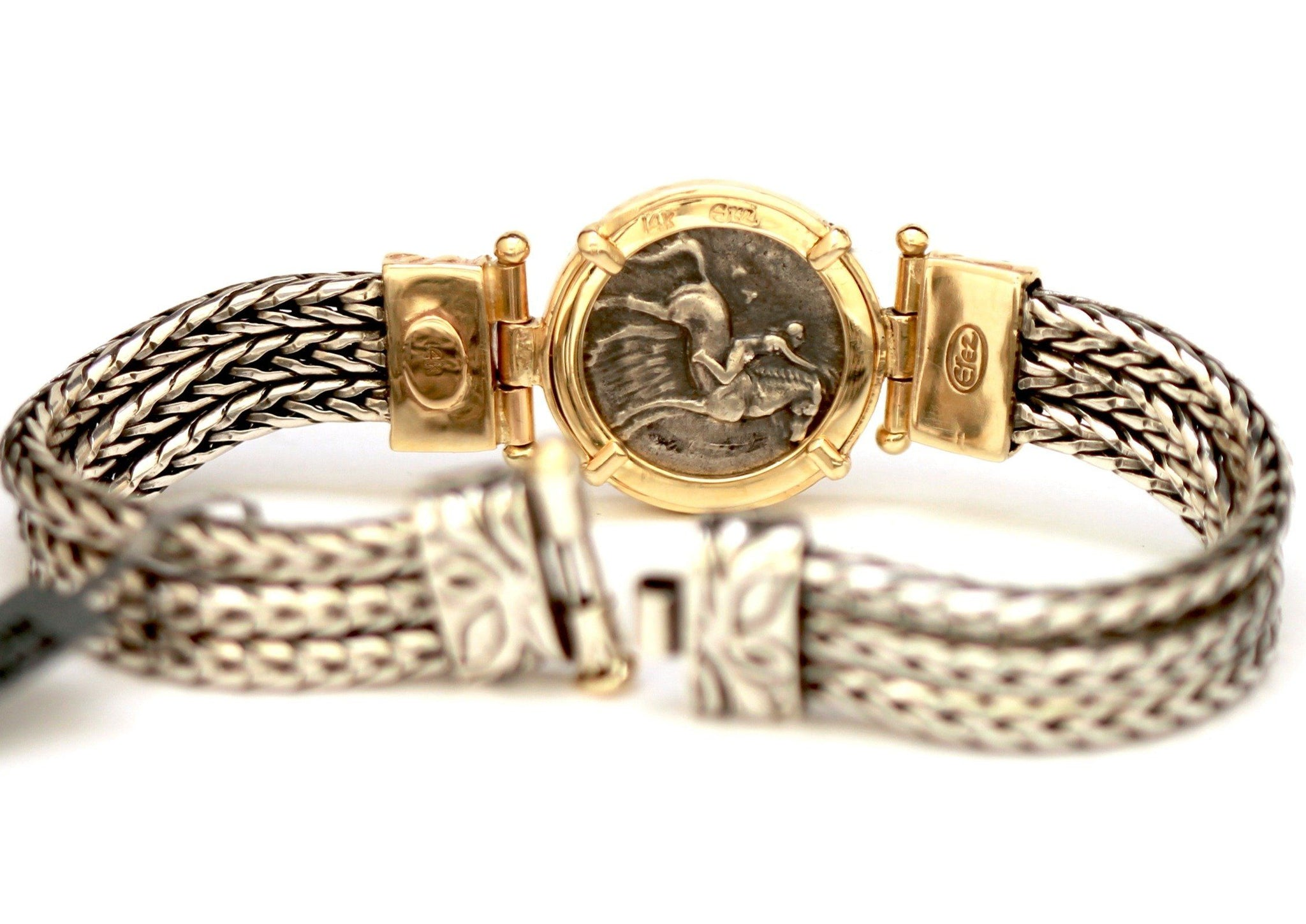 Greek coin, Boy on a Dolphin Bracelet, Gold setting, silver bracelet, 3 strands, , certificate ID13101 - Erez Ancient Coin Jewelry, ancient coin jewelry, men jewelry, genuine ancient coins, made in the US