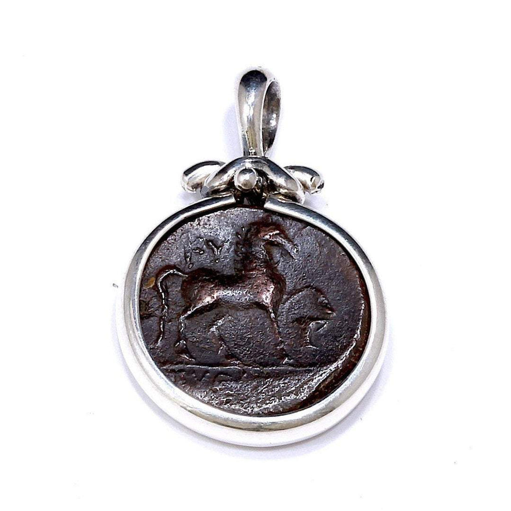Silver Pendant, Greek Coin, Kyme, Certificate 6576 - Erez Ancient Coin Jewelry, ancient coin jewelry, men jewelry, genuine ancient coins, made in the US