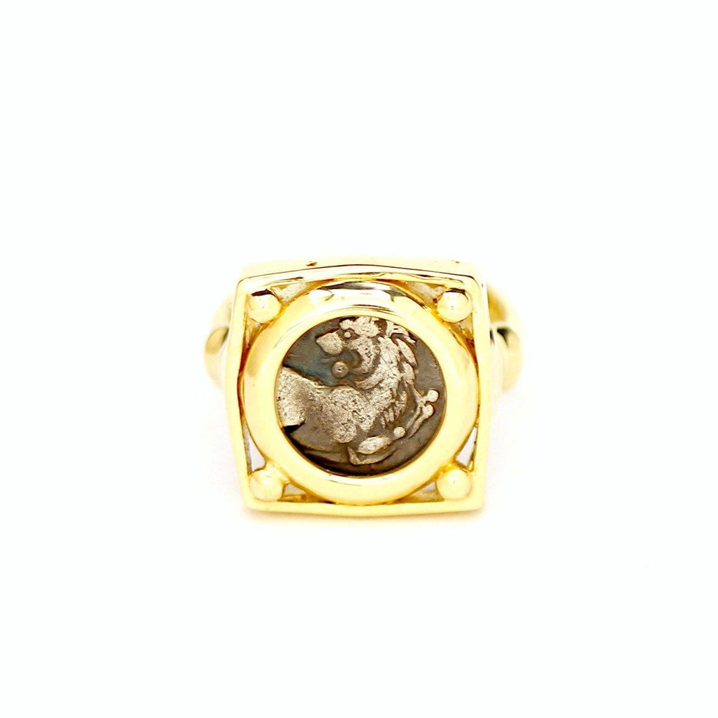 Greek Coin, Lion of Thrace, 14K Gold Ring, Genuine Ancient Coin, with Certificate ID13145