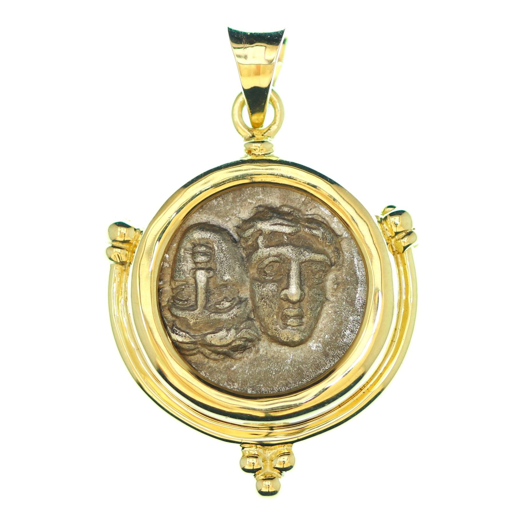 14K Gold Pendant, Istros, Greek, Certificate ID13259 - Erez Ancient Coin Jewelry, ancient coin jewelry, men jewelry, genuine ancient coins, made in the US