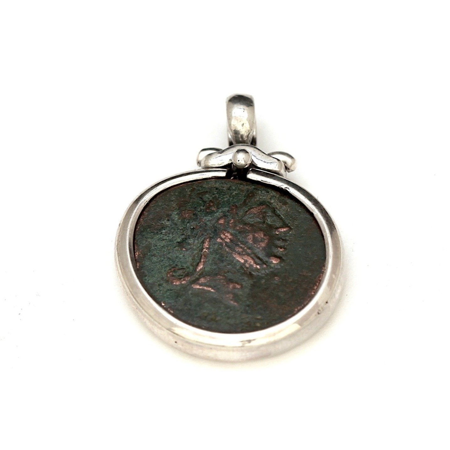 Sterling Silver, Greek Coin Pendant,  Certificate 6415 - Erez Ancient Coin Jewelry, ancient coin jewelry, men jewelry, genuine ancient coins, made in the US