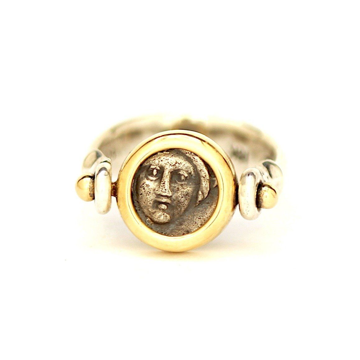 Greek Coin, Swivel Ring, Apollo, 14K Gold and Silver, Genuine Ancient Coin, with Certificate ID13151 - Erez Ancient Coin Jewelry, ancient coin jewelry, men jewelry, genuine ancient coins, made in the US
