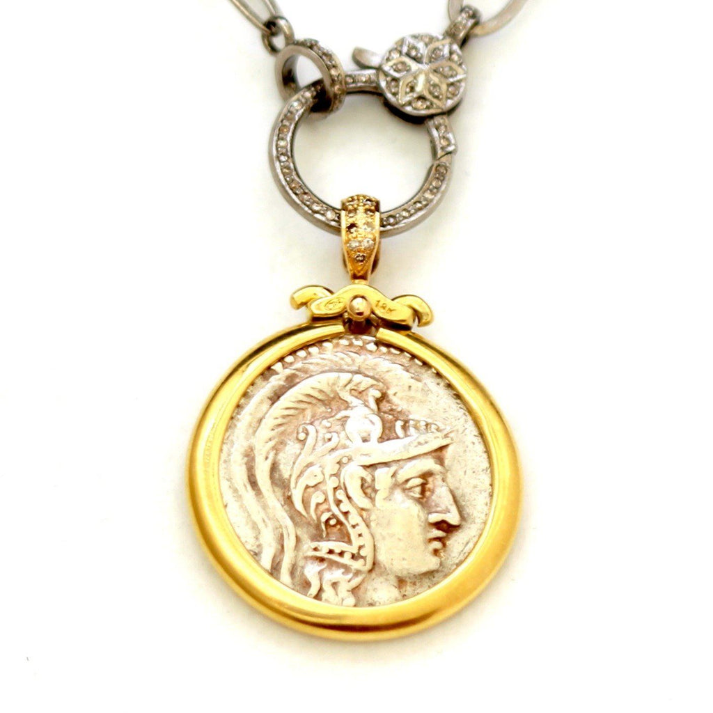 18K Pendant,  Diamond Pave in the Bail, ID13102, Chain (sold separately) 18K links and Sterling Silver - Erez Ancient Coin Jewelry