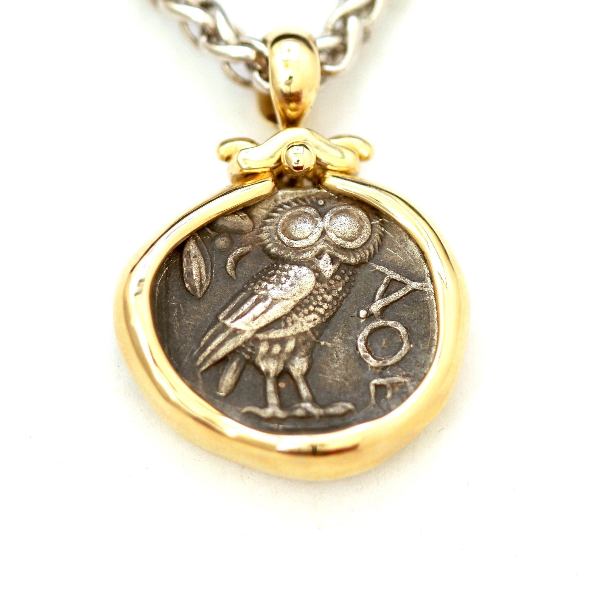 14K Pendant, Sterling Silver Chain, Greek Athena Owl, Certificate ID13104 - Erez Ancient Coin Jewelry, ancient coin jewelry, men jewelry, genuine ancient coins, made in the US