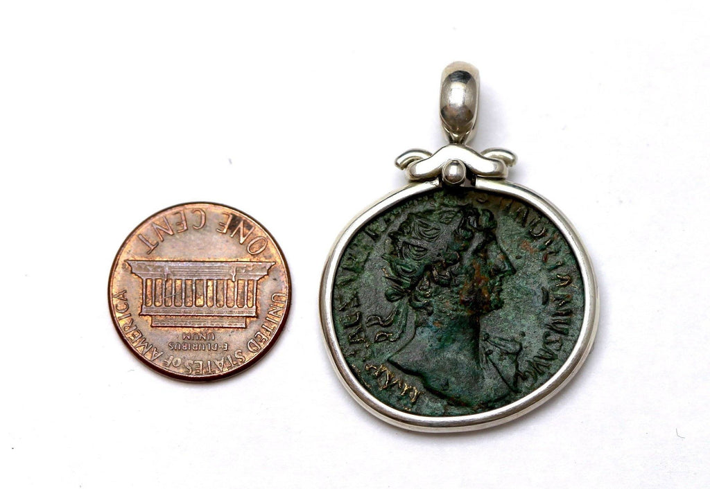 Hadrian Bronze Coin, Silver Pendant, Genuine Ancient Coin, with Certificate 8005 - Erez Ancient Coin Jewelry, ancient coin jewelry, men jewelry, genuine ancient coins, made in the US