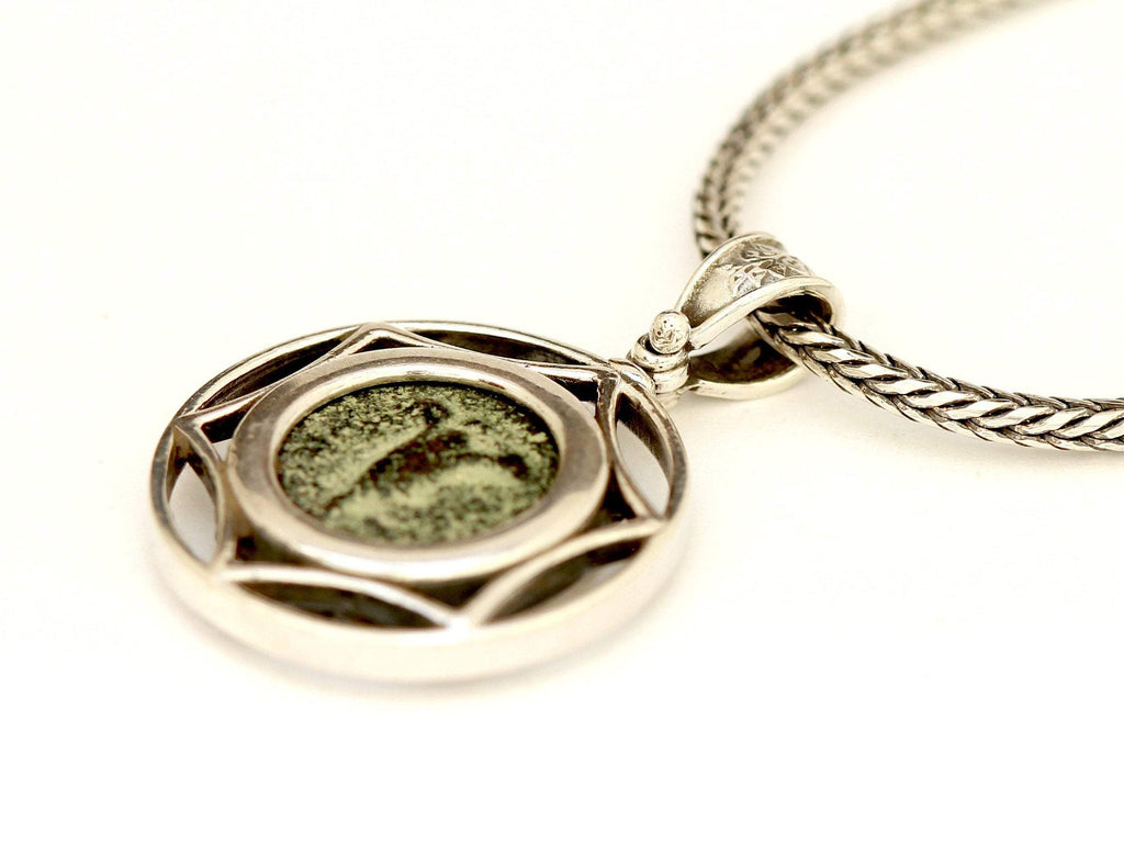Jerusalem Lily, Silver Necklace, Genuine Ancient Coin, with Certificate 6498 - Erez Ancient Coin Jewelry, ancient coin jewelry, men jewelry, genuine ancient coins, made in the US