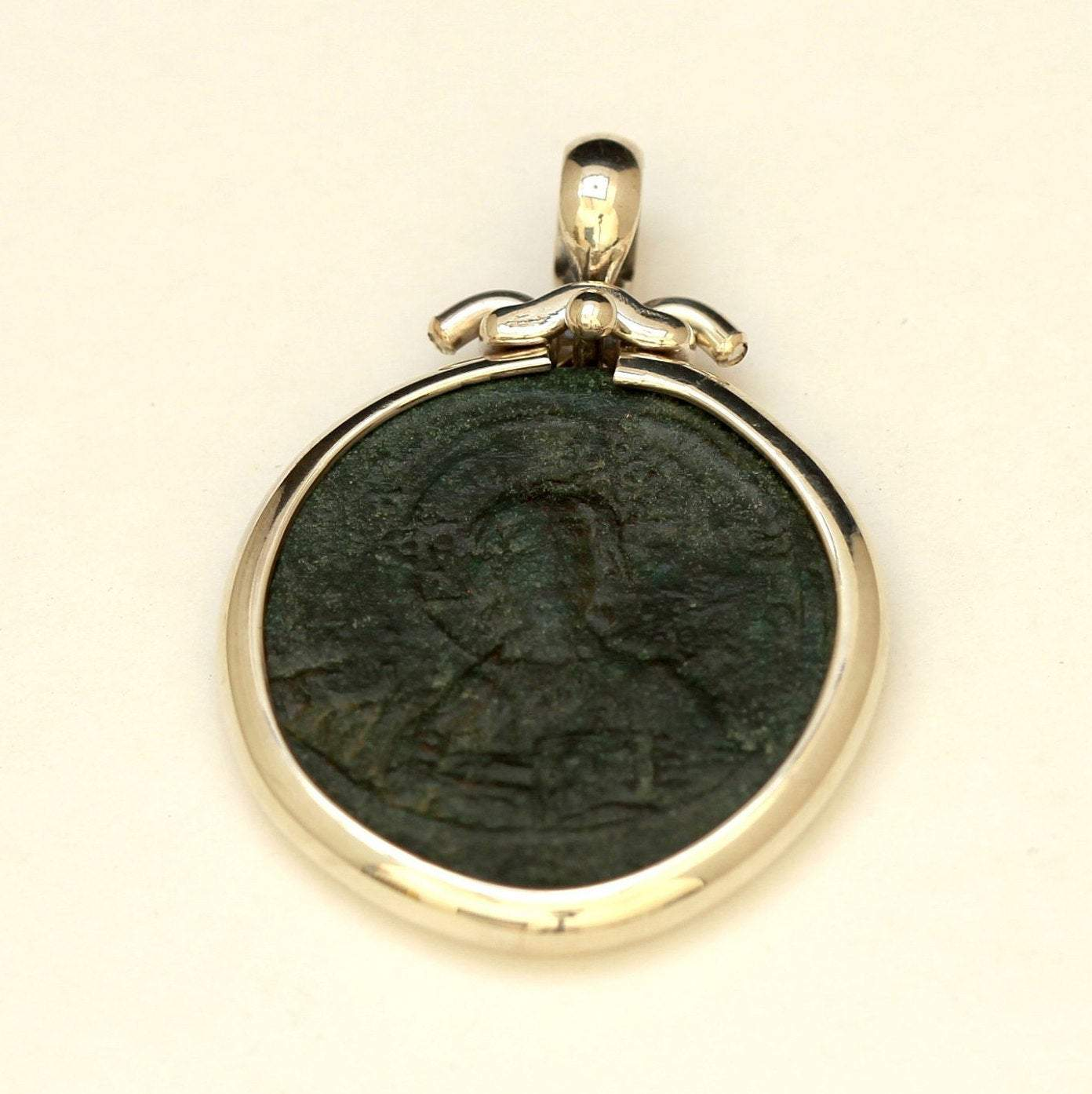 Jesus Christ Pendant, silver setting, Genuine Byzantine Coin, Anonymous Folles w/Cert 6418 - Erez Ancient Coin Jewelry