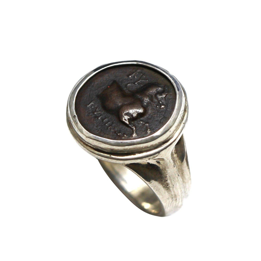 Kyme Greek Coin Ring, Sterling Silver, Genuine Ancient Coin with Certificate R-40