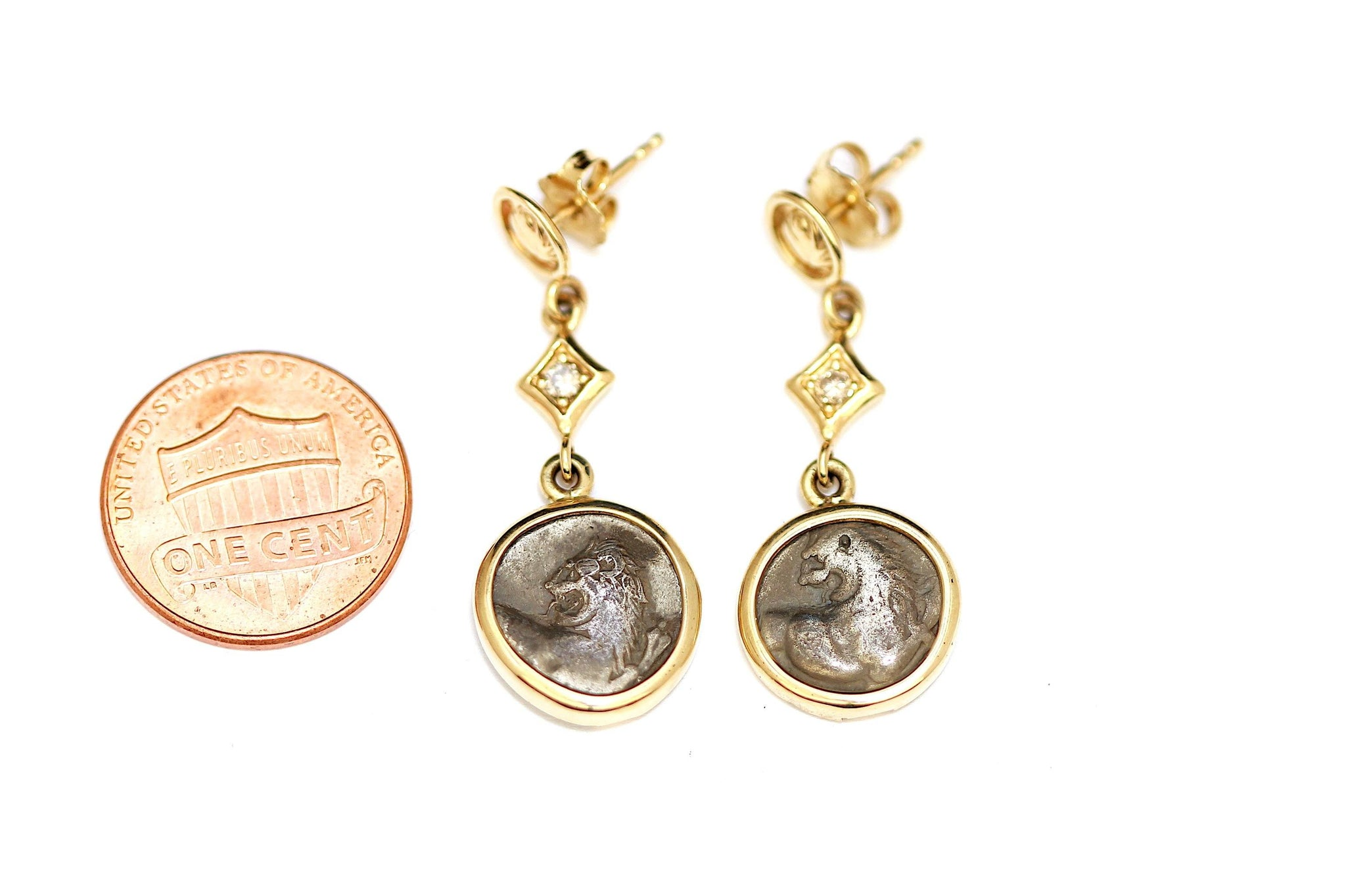 Lion of Thrace Greek Coins, 14K Gold and Diamond Earrings, Genuine Ancient Coins, with Certificate - Erez Ancient Coin Jewelry, ancient coin jewelry, men jewelry, genuine ancient coins, made in the US