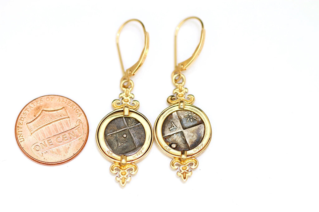 Lion of Thrace, Greek Coins, 14K Gold Earrings, Genuine Ancient Coin, with Certificate - Erez Ancient Coin Jewelry, ancient coin jewelry, men jewelry, genuine ancient coins, made in the US
